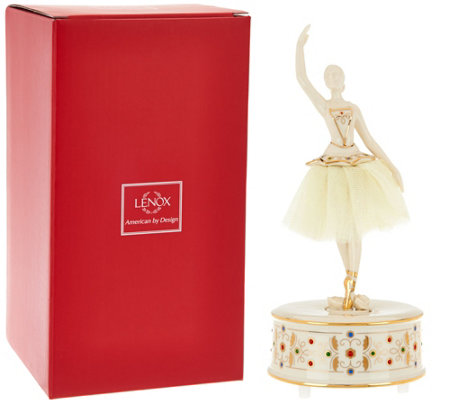 Lenox Porcelain Musical Figurine with Crystals & 24K Gold Accents
