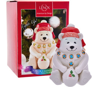 Lenox Porcelain North Pole Lit Holiday Figurines with Gift Box - H208584