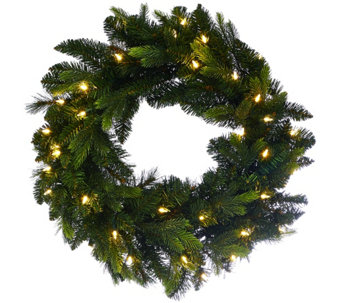 "Bethlehem Lights 24"" Mixed Green Prelit Holiday Wreath - H208784"