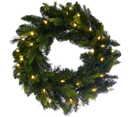 "Bethlehem Lights 24"" Mixed Green Prelit Holiday Wreath"
