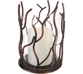 Metal Branch Hurricane with Flameless Candle by Home Reflections - H209284