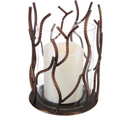 Metal Branch Hurricane with Flameless Candle by Home Reflections