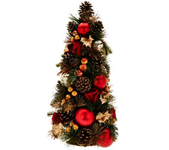 """As Is"" 18"" Velvet Rose, Berry and Pinecone Tabletop Tree - H210984"