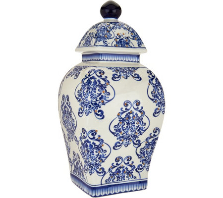 "12"" Illuminated Square Damask Porcelain Urn by Valerie"