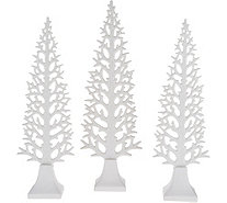 Set of 3 White Ceramic Decorative Glittered Trees by Valerie - H211884