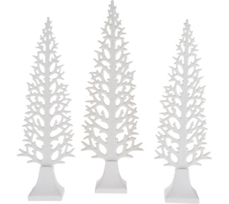 Set of 3 White Ceramic Decorative Glittered Trees by Valerie