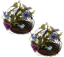 """As Is"" Set of 2 Mixed Floral Dogwood & Hydrangea Nests with Eggs - H212784"