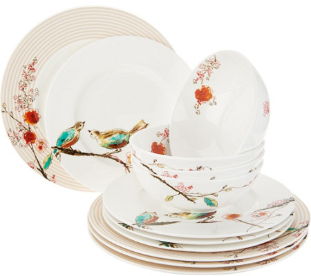 Lenox Chirp 12-Piece Bone China Dinnerware Set