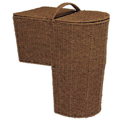 Household Essentials Paper Rope Stairstep Curved Basket w/ Li