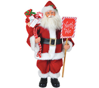 "15"" Santa w/ North Pole Sign by Santa's Workshop - H285184"