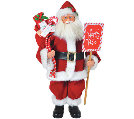 "15"" Santa w/ North Pole Sign by Santa's Workshop"