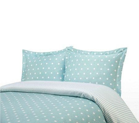 100% Cotton Polka Dot Print Twin Duvet Cover and Shams Set