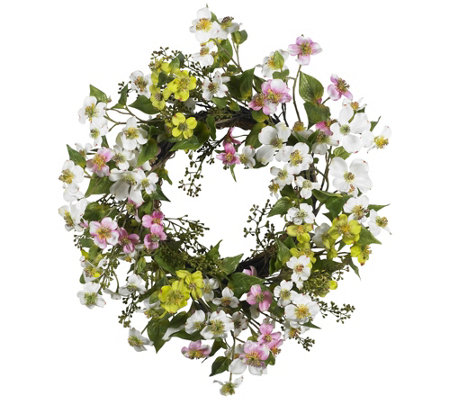 "20"" Dogwood Wreath by Nearly Natural"
