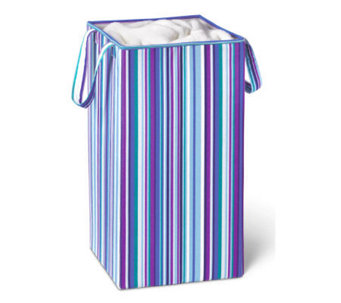 Honey-Can-Do Foldable Square Hamper/Blue PurpleStripe - H356584