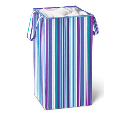 Honey-Can-Do Foldable Square Hamper/Blue PurpleStripe