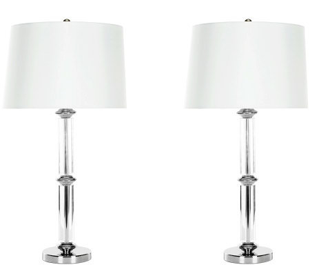 Safavieh Set of 2 Glass Table Lamps w/Geneva White Shades