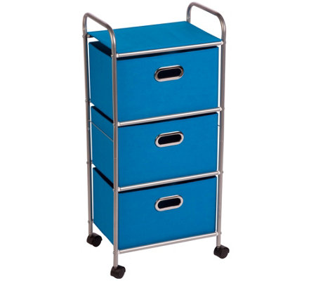 Honey-Can-Do Three-Drawer Fabric Storage Cart -Blue