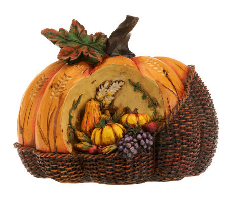 Basket Weave Pumpkin with Carved Harvest Accents by Valerie