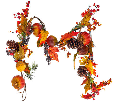 6' Pumpkin and Pomegranate Fall Foliage Garland