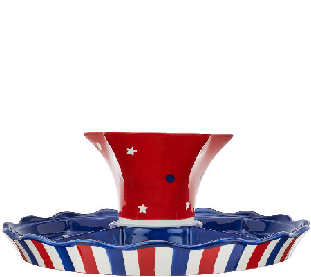 Temp-tations Red, White & Blue Cake Plate with Chip & Dip