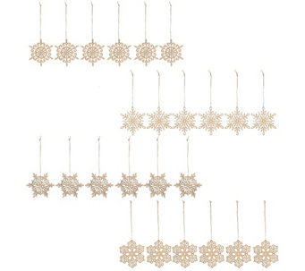 ED On Air Set of 24 Wood Snowflake Ornaments by Ellen DeGeneres - H205985