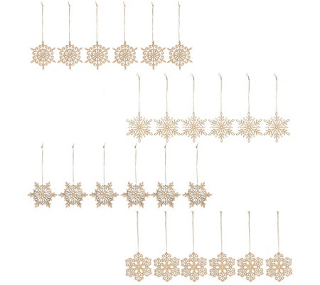 ED On Air Set of 24 Wood Snowflake Ornaments by Ellen DeGeneres