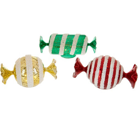 Kringle Express Set of 3 Mercury Glass Illuminated Candies