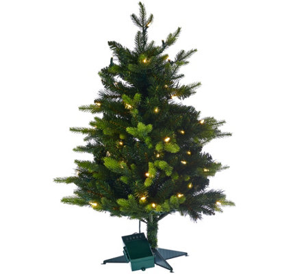 "Bethlehem Lights 30"" Mixed Greens Prelit Holiday Stake Tree"