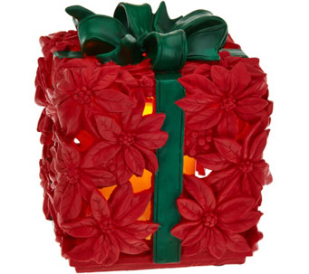 Illuminated Poinsettia Present Lantern by Home Reflections - H210085