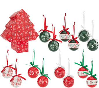 """As Is"" Temp-tations 14 piece Decoupage Ornament Set - H210485"