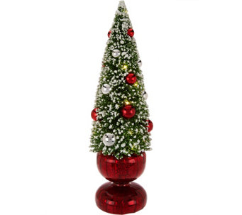 """As Is"" Bottlebrush Lit Tree with Ornaments and Glass Base - H210985"