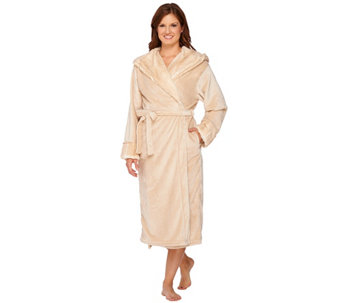 """As Is"" Dennis Basso Snuggly Plush & Faux Fur Hooded Robe - H211085"