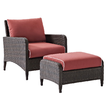 Crosley Kiawah 2 Piece Wicker Seating Set withCushions
