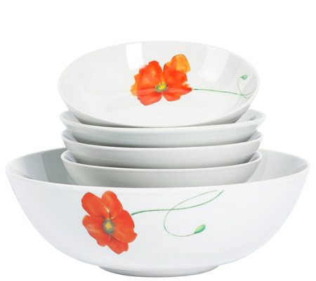 Tabletops Gallery 5-Piece Poppy Round Pasta Set