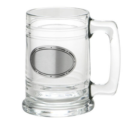 15oz Glass Tankard with Plaque for Engraving