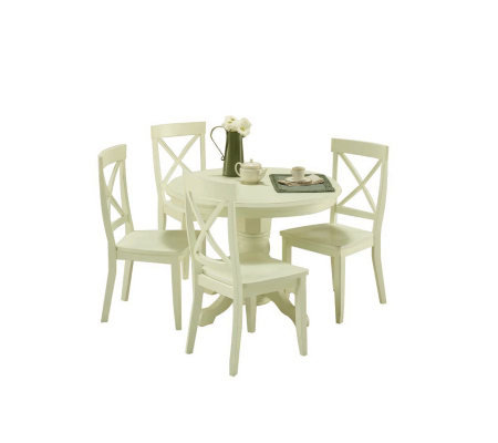 Home Styles Round Pedestal Dining Table -  WhitFinish