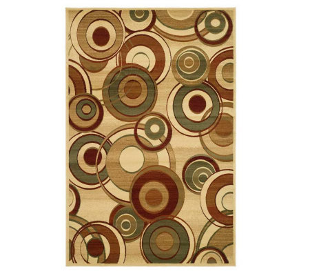 "Lyndhurst 7'9"" x 10'9"" Modern Circles Power Loomed Rug"