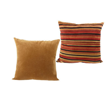 Set of Two 18-inch Solid & Stripe Accent Pillows By Valerie