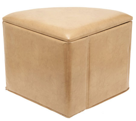Faux Leather 1/4 Round Fold-Up Storage Ottoman by Valerie