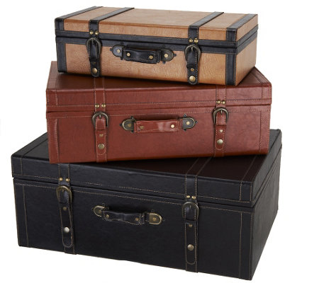 Set of 3 Faux Leather Suitcases by Valerie - Page 1 — QVC.com