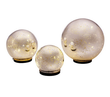 """As Is"" Set of 3 Lit Indoor Outdoor Mercury Glass Spheres with Timer"