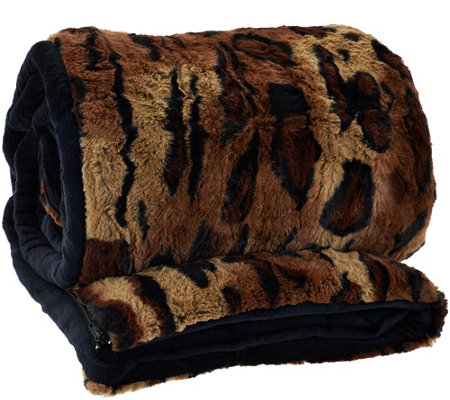 "Dennis Basso 31""x70"" Snuggly Luxe Faux Fur & Velboa Sleeping Bag"