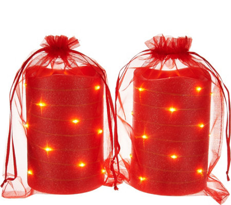 "Lightscapes (2) 5"" Glitter Swirl Light Flameless Candles w/ Bags"