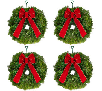 Del. Week 12/5 Set of 4 Fresh Mini Balsam Wreaths by Valerie - H209786