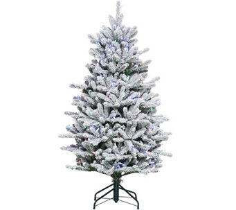 """As Is"" Santa's Best 5' RGB 2.0 Flocked Balsam Fir Christmas Tree - H210286"