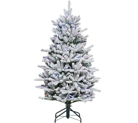 """As Is"" Santa's Best 5' RGB 2.0 Flocked Balsam Fir Christmas Tree"