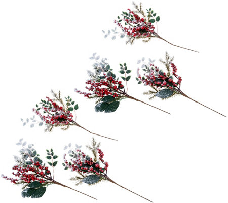 Set of 6 Snowy Red Berry & Holly Picks by Valerie