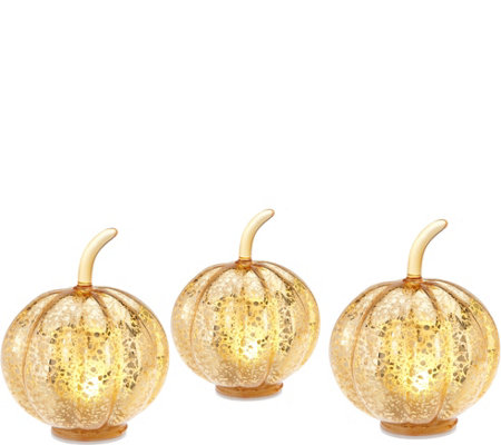 Set of 3 Lit Mercury Glass Pumpkins with Timers by Valerie