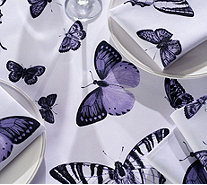 "Casa Zeta-Jones Butterfly 60"" x 120"" Table Cloth w/ 10 Napkins - H215286"