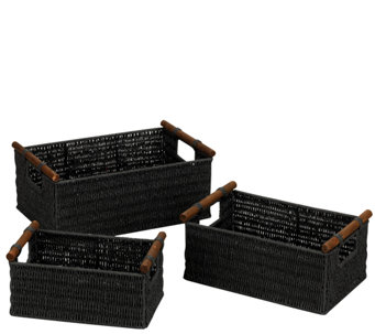 Household Essentials Paper Rope Baskets, Wood Handle - Set / 3 - H285086